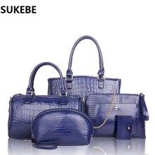 5 PCS Set Women Bag Fashion Design Crocodile Female Handbag Leather Women Messenger Bag Bolsa Feminina