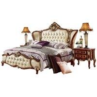 Европейская кожа французский 1,8 м двуспальная кровать, роскошная резная принцесса Кама мебель для спальни muebles горит enfant yatak мобильный