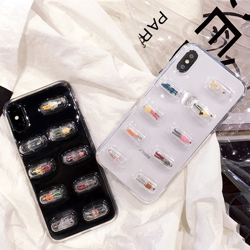 Fashion Cute 3D Cartoon Capsule Doll Phone Case For iPhone X Soft TPU Colorful Stereoscopic Back Cover For iphone 6 6S 7 8 Plus