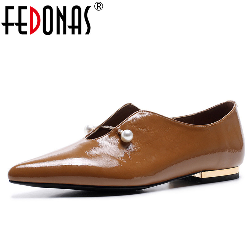 FEDONAS Retro Women Flats Shoes Loafers Spring Autumn Big Size 34-42 Pointed Toe Safety Comfortable Casual Shoes Flat fedonas new arrival gray pink women low heels casual shoes comfortable four season pointed toe loafers shoes woman