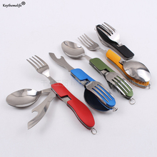 Camping Portable Folding Tableware Knife and Fork Spoon Combination Multifunction Dinnerware Sets D44