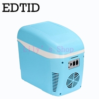 EDTID MINI Fridge Portable Car household Electric Refrigerator auto Travel Drink Cooler Box Freezer Warmer 7.5L 12V 220 240V EU