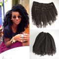 8A Indian Clip in Human Hair Extensions Indian Afro Kinky Curly Virgin Hair Clip in Extension black color 1b,7pcs/set 8-24inch