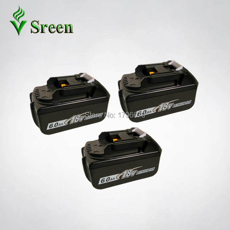 3PCS 18V BL1860 6000mAh Rechargeable Lithium Ion Replacement for Makita BL1840 LXT400 194205-3 BL1850 BL1830 Power Tool Battery power tool battery 18v 3000 mah lithium bl1830 for makita bl1830 18v 3 0a 194205 3 194309 1 electric power tool t0 05