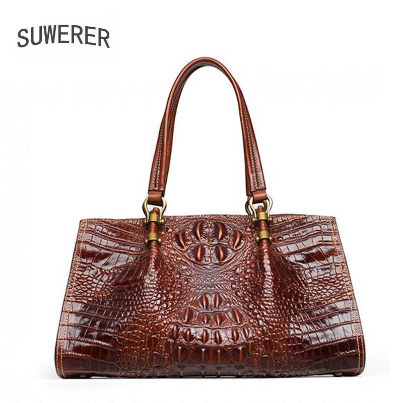 New Genuine Leather women bags Fashion Crocodile pattern Embossed luxury handbags dig bags designer women leather handbags цена 2017