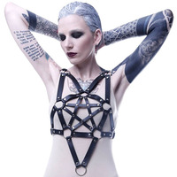 Wholesale Pu Leather Harness Bra Jewelry Sexy Hot Erotic Harness Belts Bondage Suspender Gothic Punk Style Strap Shoulder Chain