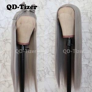 Image 2 - QD Tizer Silky Straight Haarkant Grijze Kleur Lijmloze Hittebestendige Synthetische Lace Front Pruik Voor Vrouwen