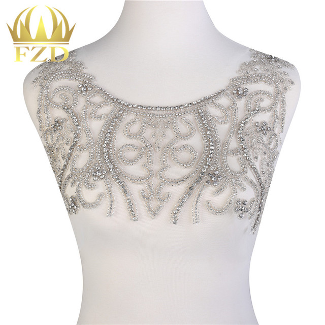 1 Piece Elegant Clear Crystal Stone Patches and Rhinestone Crystal with  Gauze for Wedding Dresses e5211aa44e61