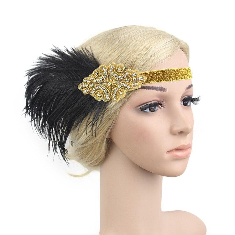 KMVEXO Indian Style Black Feather Crystal Beaded Flapper Headpiece Wedding Bridal Hair Accessories Great Gatsby Headband Jewelry headpiece