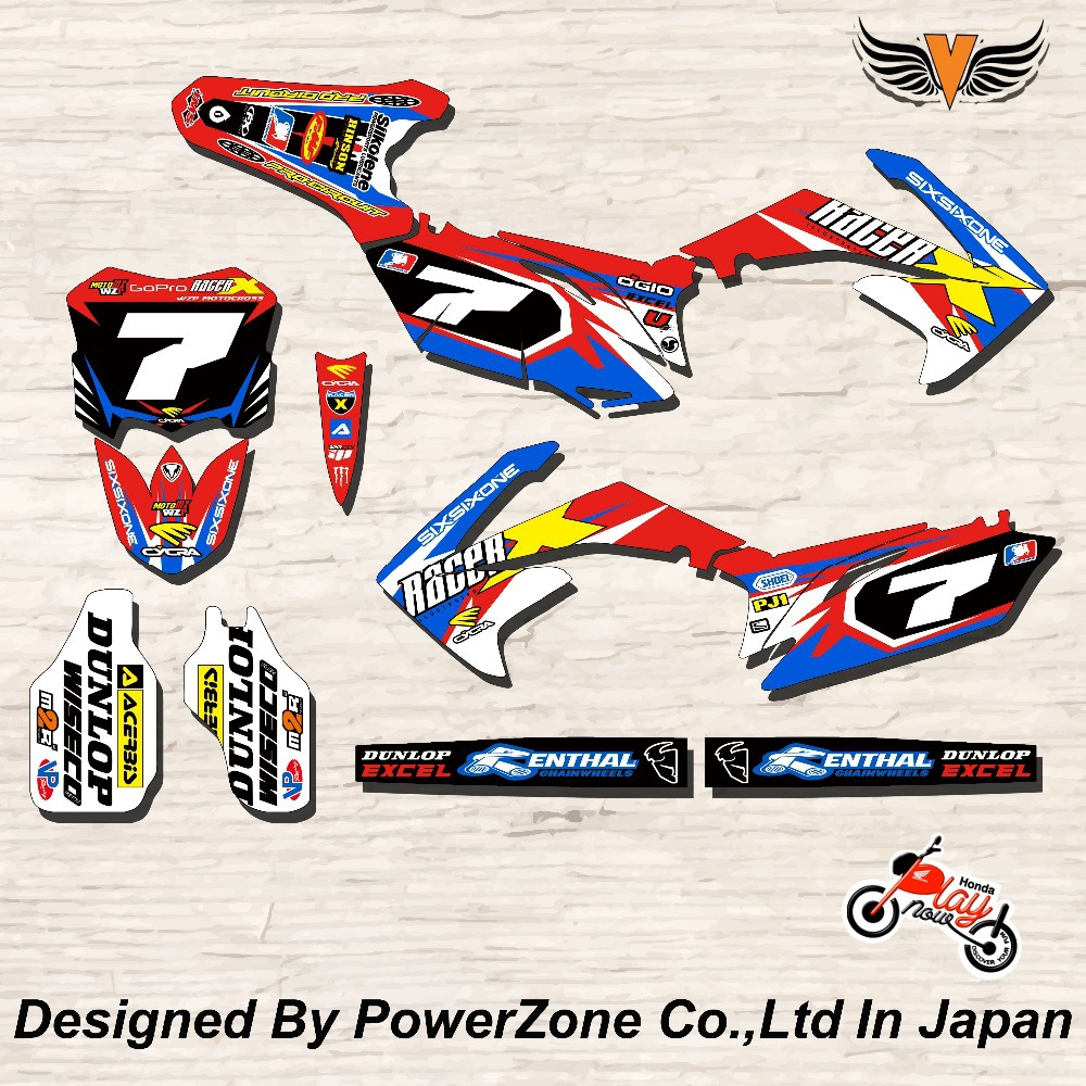CRF XR CRM 125 250 450 650 Team Graphics Backgrounds Decals Stickers Racer Motorcylce Dirt Bike MX Racing Parts Free Shpping