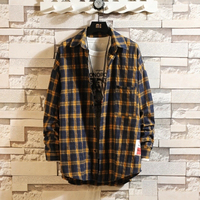 INS Style Men Plaid Shirts Casual Autumn Man Yellow Red Plaid Shirt Men Vintage Oversized Top Long Sleeves Dress Shirt for Men 5