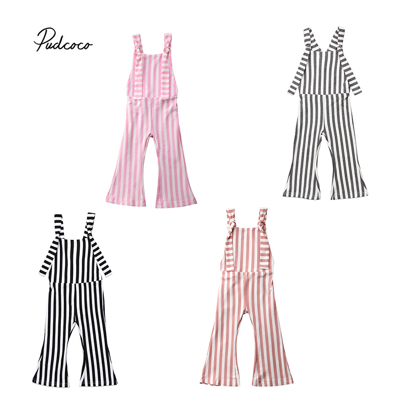 Pudcoco 2018 Toddler Kids Baby Girls   Rompers   Strap Sleeveless Striped   Romper   Jumpsuit Harem Pants Clothes Summer Outfits 6M-5T