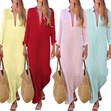 Summer Womens Loose Long Sleeve Linen Dress Casual Kaftan Soild Maxi Dresses Vestidos Robe 2019