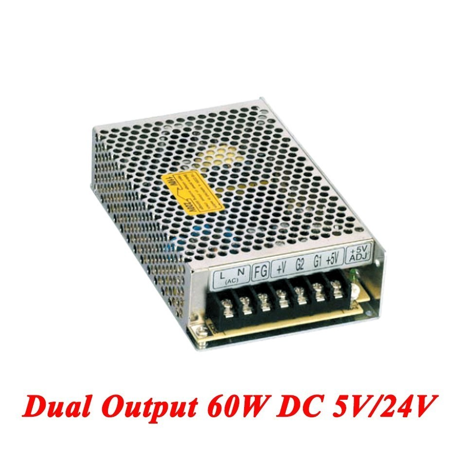 D-60B Switching Power Supply 60W 5V/24V,Dual Output Ac-dc Power Supply For Led Strip,voltage Converter 110v/220v To 5V/24V