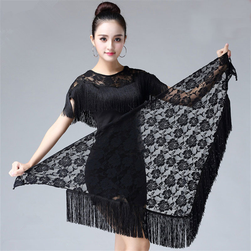 Blley Hip Scarf Lace Shawl Hip Triangle Towel Latin Dance Tassel Hip Scarf Fringed Waist Belly Dance Hip Triangular Bandage