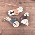5 Pieces Pack Earphone Cable Manager In Second Layer Skin Genuine Leather With Metal Buckle Cable Winder