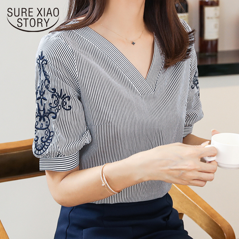 New 2018 Summer Chiffon Women Blouse Shirts Fashion Striped V Neck Women Tops Embroidery Short Sleeve Female Clothing 0513 40
