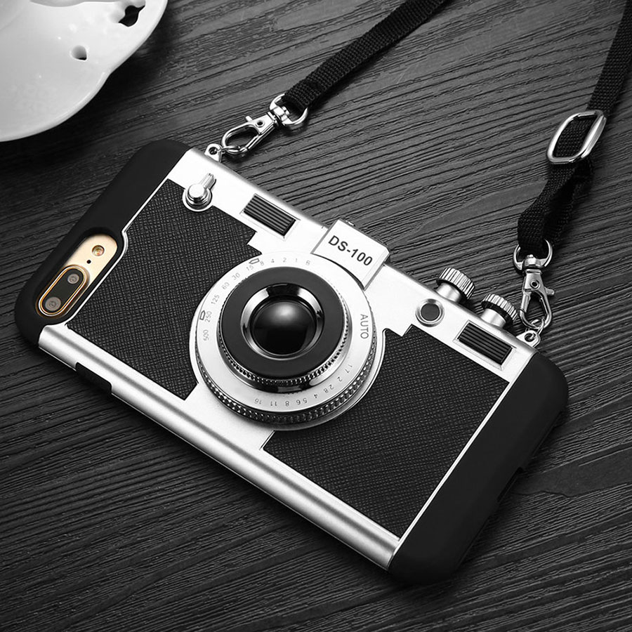 3D Camera Design Iphone 8 7 6 6S Plus SE 5S Cover 2 In 1 Phone Cases Hard PC + Soft Silicone Shell With Lanyard