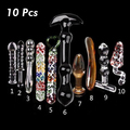 10 Pcs Pyrex Glass Dildo Crystal Anal Butt Plug Women Gay Female Masturbation Sex Toys