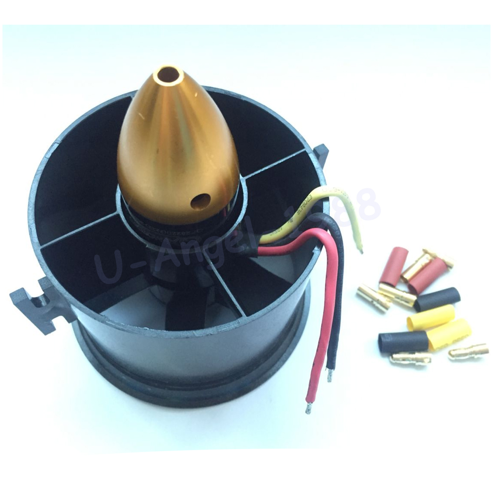 70mm conducto ventilador + 3000kv brushless Motores para Lipo RC Jet + free