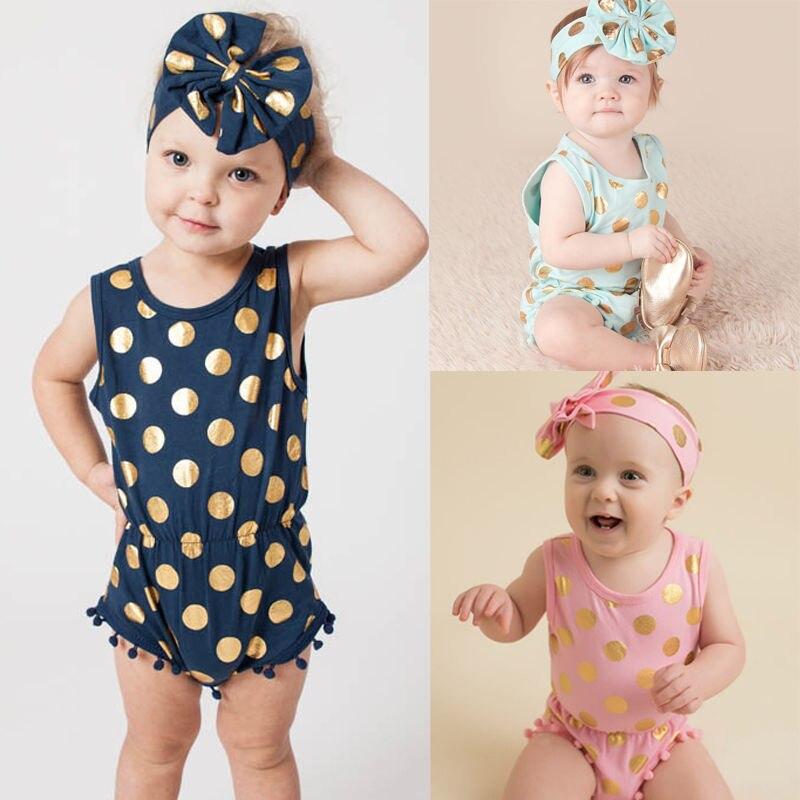 ヘッドバンドカジュアルロンパースジャンプスーツ女の赤ちゃん服ゴールドポルカドットコットンノースリーブの衣装セット女の赤ちゃん3 6 9 12 18 24 Monthesオフショア水着花柄