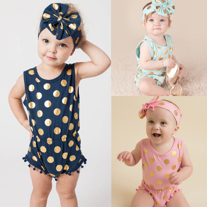 Headband Casual Romper Jumpsuit Baby Girl Clothes Gold Polka Dot Cotton Sleeveless Outfits Set Baby Girl 3 6 9 12 18 24 Monthes 1set baby girl polka dot headband romper tutu outfit party birthday costume 6 colors