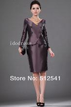 Elegant Mother of the Bride Dresses Top grade V-neck Sheath Knee-length Long-sleeves Ruffle yk-8B01