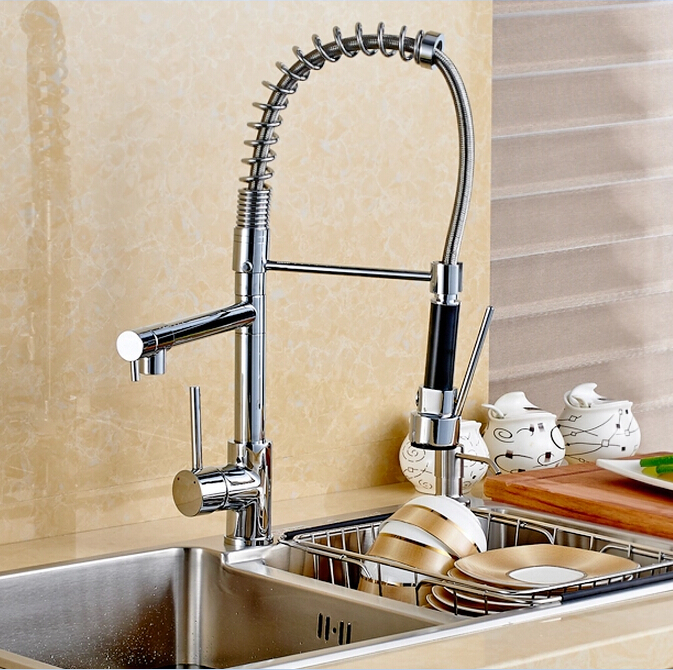 wholesale and retail new double swivel spout spring kitchen sink faucet hot and cold pull out kitchen faucet - Double Ceramic Kitchen Sink