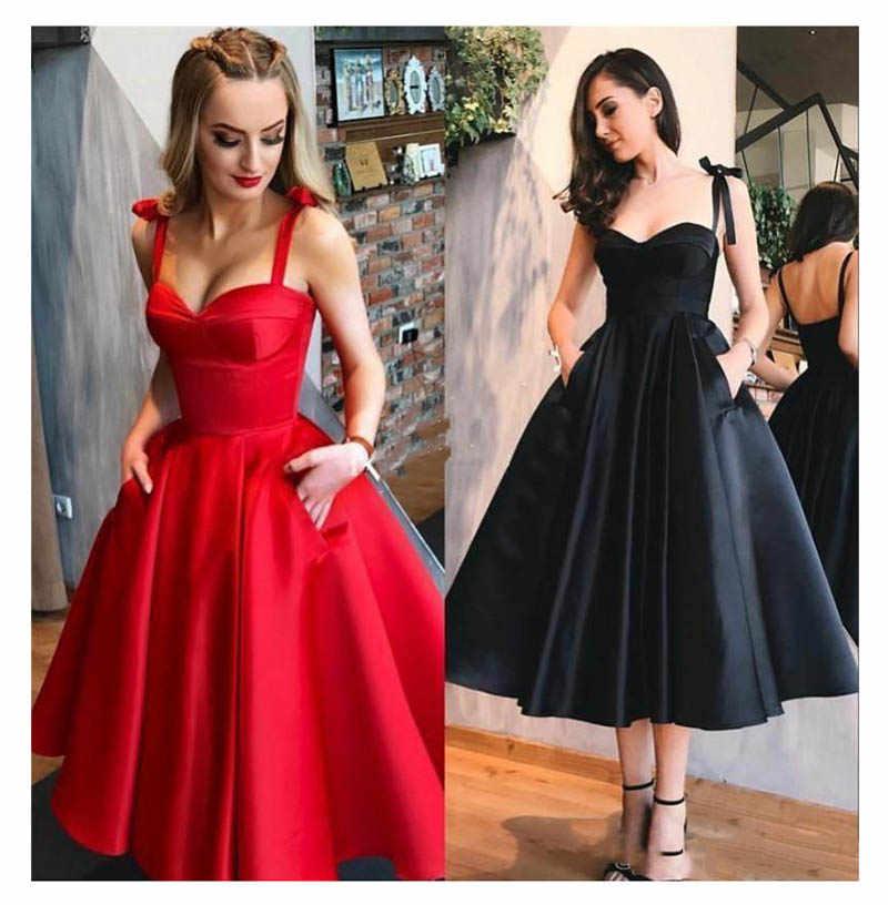 Vestidos de Baile vermelho 2019 Cintas de Espaguete Preto Vestidos Com Bolsos UMA Linha de Graduação do Regresso A Casa Na Altura Do Joelho Vestidos de Festa
