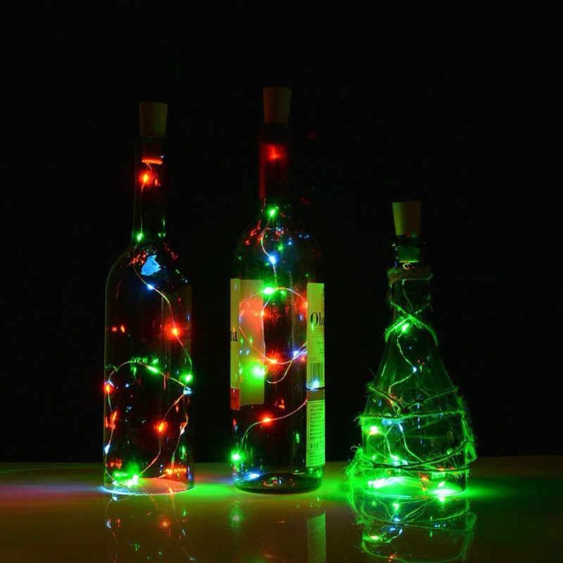 1 м 2 м Серебряная проволочная гирлянда Феи пробка для бутылки для стеклянного ремесла светодиодный гирлянда для свадьбы Рождество Новогоднее праздничное украшение