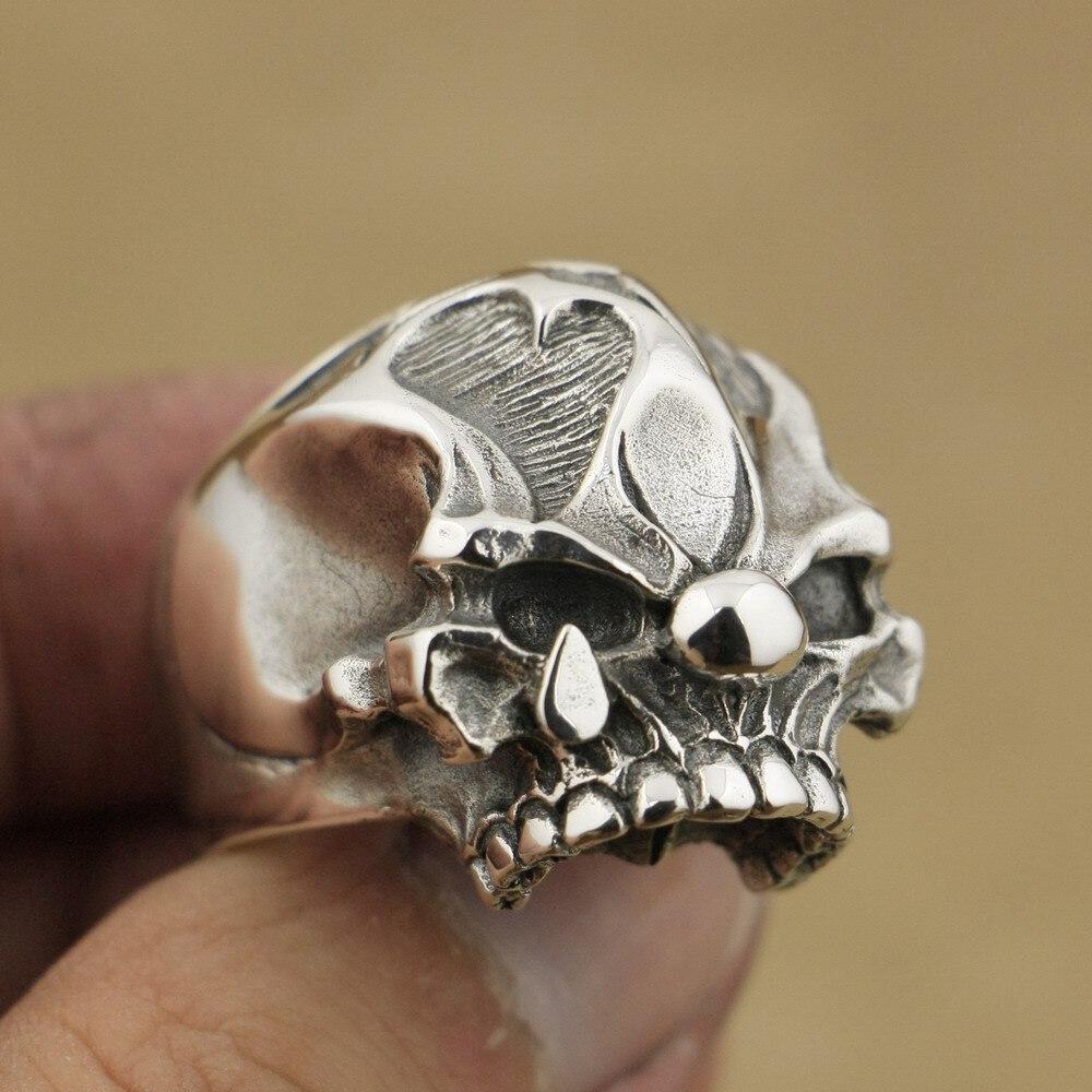 Ручной работы стерлингового серебра 925 Джокер Череп Кольцо мужское байкерское кольцо панк рок TA78A