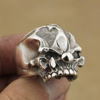Anillo de calavera de Joker hecho a mano de Plata de Ley 925 anillo Punk de motociclista para hombre TA78
