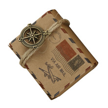 100pcs Retro Airplane Postal Pattern Earth Compass Kraft Paper Wedding Candy Box