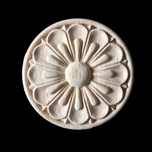 10PCS Wood Carving Natural Wood Appliques for Furniture Cabinet Unpainted Wooden Mouldings Decal home Decorative 30CM(China)