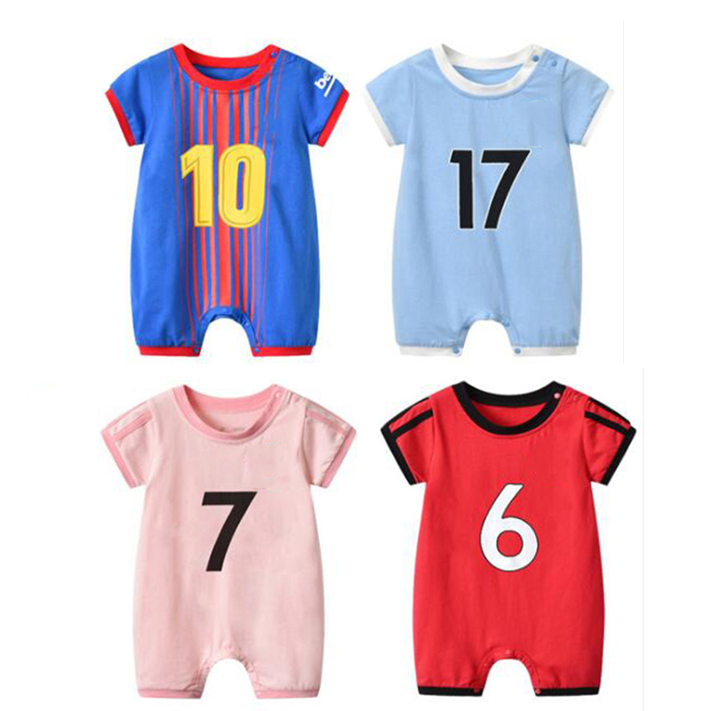 hot sale online 1e4fd 598c7 US $10.99 40% OFF|Newborn Bebe Football CR Messi Clothes Suit Infant Romper  Boys Onesie Costume Outfit Loose Sport Soccer Pogba Summer Jumpsuit-in ...