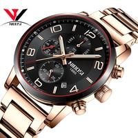 NIBOSI Mens Watches Stainless Steel Sport Quartz Analog Watch Men Sports Waterproof Top Brand Luxury Wristwatches Fashion Saat