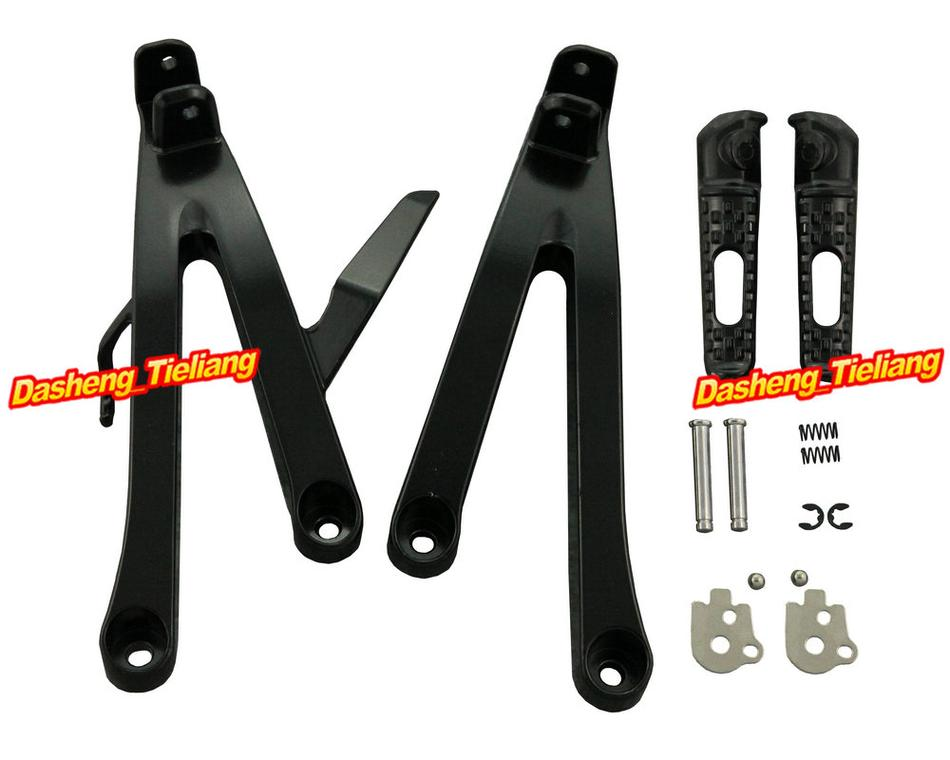 Motorcycle Rear Passenger Footpegs Footrests Pegs Mount Brackets Kit For Honda CBR600RR 2007 2011 F5 Replacement Parts