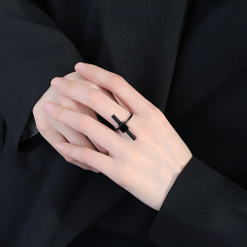 2018 New Simple Black Silver T Bar Ring Women Girl Ladies Punk Finger Rings Jewelry Accessories Party Gifts