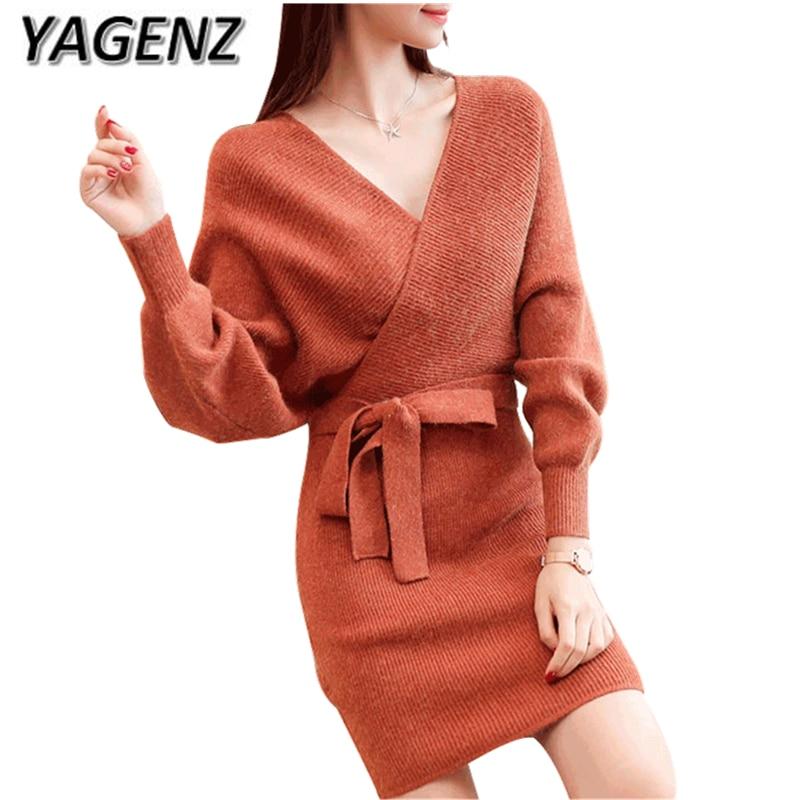 YAGENZ 2017 printemps et automne tricots femmes robes élégant Slim col en v chauve-souris chemise solide dame pull pull mode vêtements