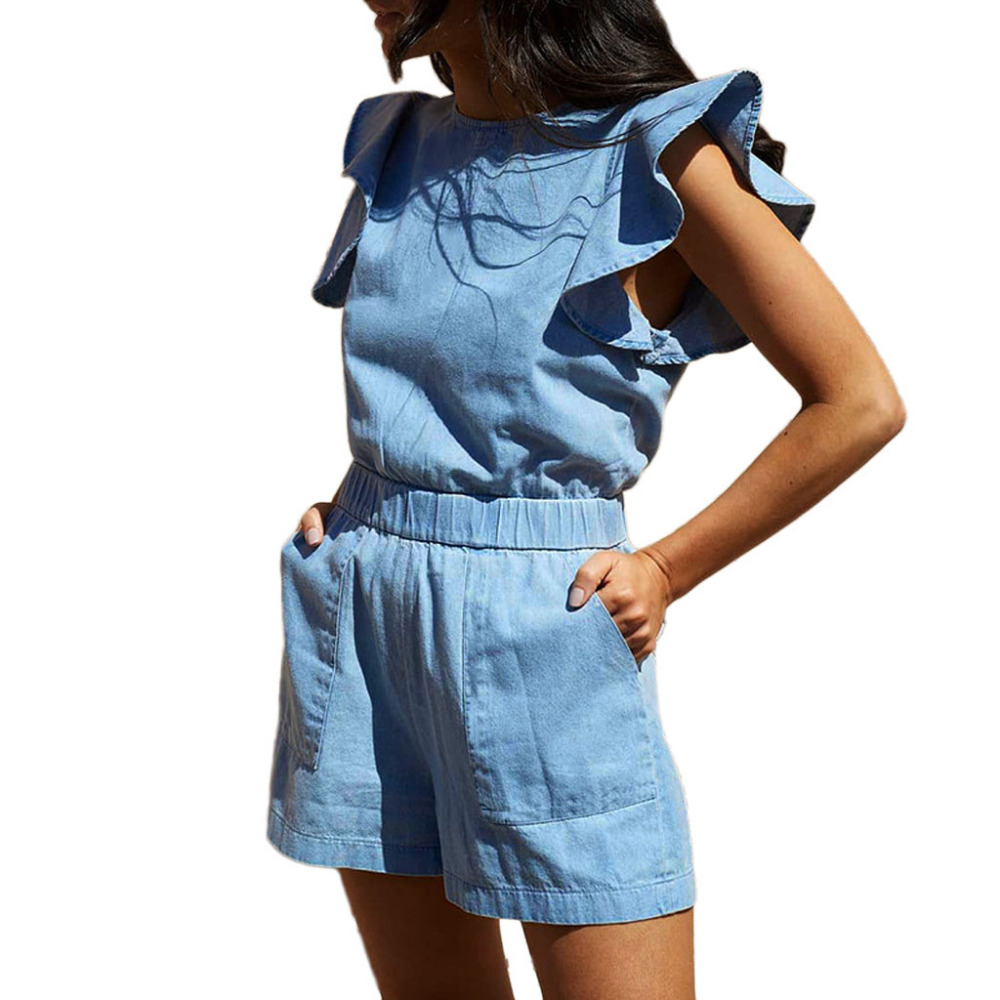 FREE OSTRICH   Jumpsuit   new unique design women's pocket ruffled sleeveless summer denim blue short fashion comfortable   jumpsuit