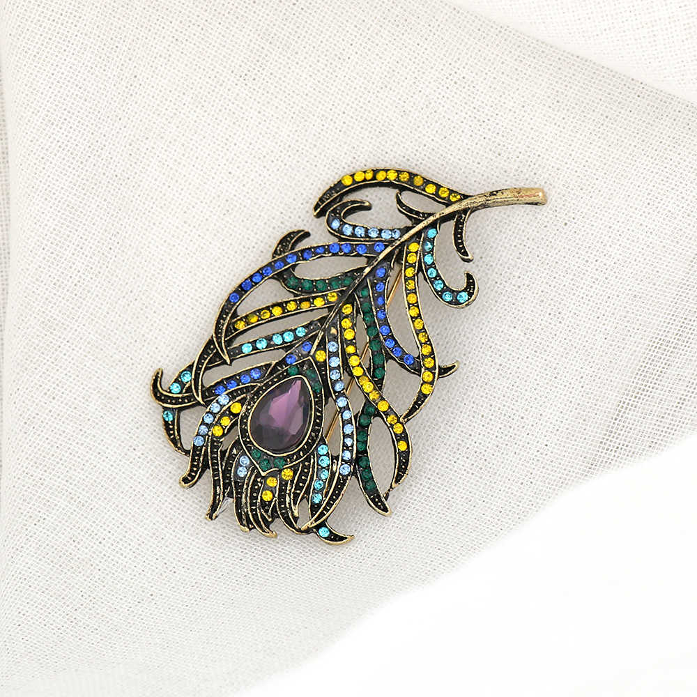 Biru Kristal Enamel BoHo Merak Bulu Bros Pin Enamel Fashion Pernikahan Aksesoris untuk Pakaian Dekorasi DROP Kapal