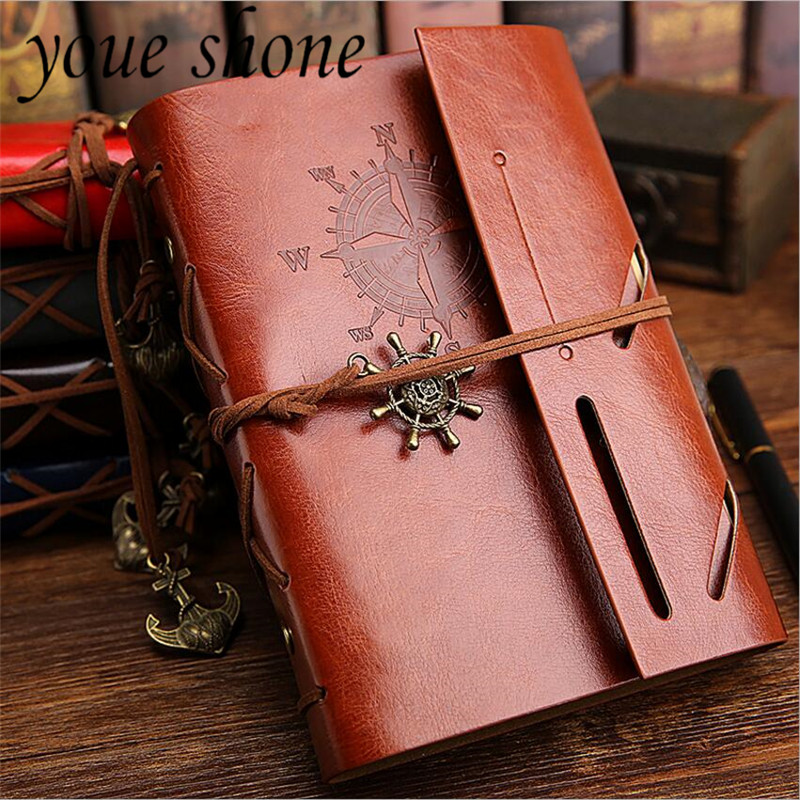 2018 Hot sale Retro Notebook Diary Notepad Pirate Anchors PU Leather Note Book Replaceable Stationery Gift Traveler Portable spiral notebook newest diary book vintage pirate anchors pu leather note book gift traveler journal 14 5 10 5 2 5 cm 2 color