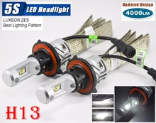 1 Set H13 9008 50W 5000LM 5S LED Headlight LUMILED LUXEON ZES 24LED SMD Chips Fanless 6500K Hi/Low Beam Driving Fog Lamps Bulbs