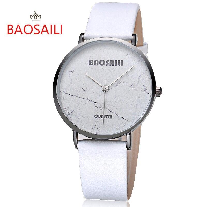 Baosaili Лидирующий бренд черный crack БЕЛЫЙ Мрамор Дизайн Тонкий настоящее позолота случае водонепроницаемость для Для женщин кварцевые часы ...
