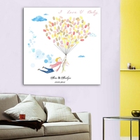 DIY Fingerprint Balloon Signature Canvas Painting Tree Wedding Gift Wedding Decoration Guest Book for Wedding Baby Shower Party