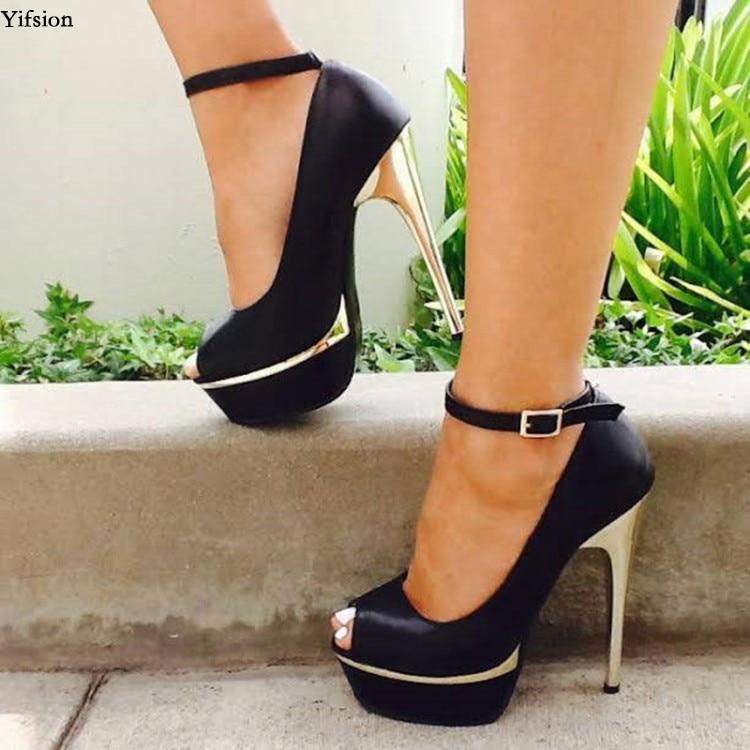 Nice Summer Flock Black Women High Heels Genuine Leather