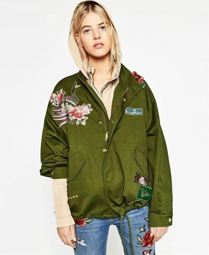 Jacket Women 2016 autumn and winter new style of the peacock peony embroidery jacket women loose coat