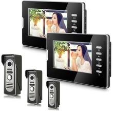 YobangSecurity 7″ Color Video Door Phone Door Chime Wired Video Intercom Doorbell Intercom System 3 Camera 2 Monitor for Home