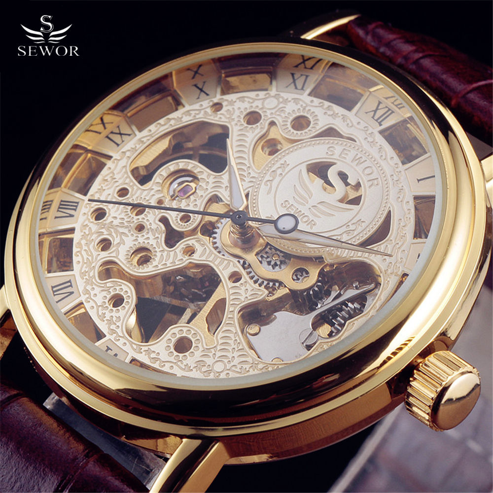 2016 New Sewor Brand Skeleton Hollow Fashion Mechanical Man Gift Clock Luxury Male Business Leather Wrist Military Sport Watch 2016 sewor brand design leather skeleton man male sport clock business automatic mechanical self wind fashion wrist luxury watch