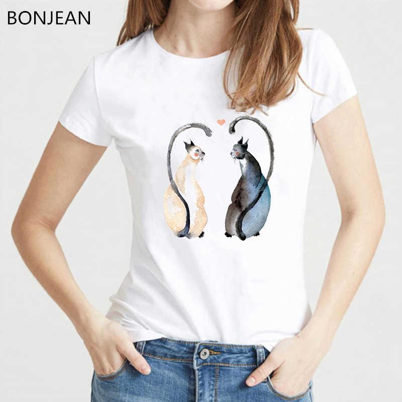 Camiseta divertida mujer gatos en amor animal estampado camiseta mujer harajuku camiseta tumblr ropa verano tops mujer camiseta streetwear